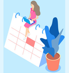 woman sitting on calendar is working on planning vector image