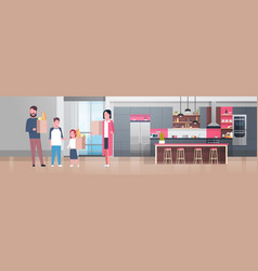 Young family holding bags with grocery products in vector
