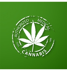 Authorized medical cannabis grunge rubber stamp vector image