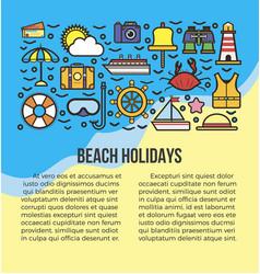 beach holidays information list vector image