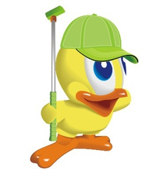 duck play golf vector image vector image