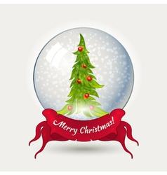 Glass ball with Christmas tree vector image vector image