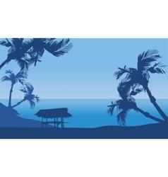 Hut in seaside scenery silhouette vector image vector image