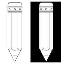 Pencil icon Black and white outline vector image