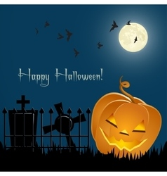 Pumpkin bats and tombs in front of the night sky vector image