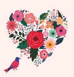 Beautiful floral heart and blue bird vector image vector image