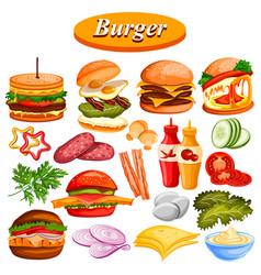 different burger ingredient and sauce including vector image vector image