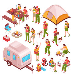 picnic barbecue isometric icons vector image vector image