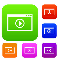 program for video playback set collection vector image