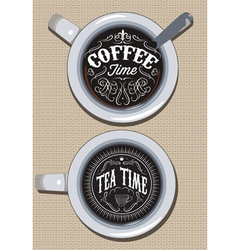 set of cups for coffee and tea with ornament vector image vector image