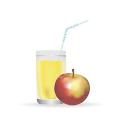 apple juice glass realistic vector image