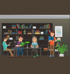 cartoon people read books at library library room vector image vector image