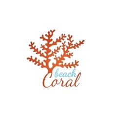Coral beach logo template vector