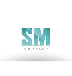 sm s m alphabet letter green logo icon design vector image vector image