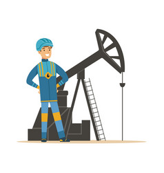 smiling oilman standing next to an oil rig vector image vector image