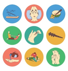 Thai massage isolated flat color icon set vector image