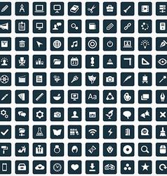 100 art design icons vector image