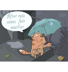 A cat and a rain comics vector image