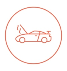 Broken car with open hood line icon vector image