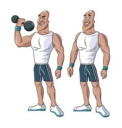 healthy men athletic muscular weight vector image vector image