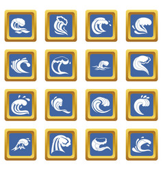 sea waves icons set blue vector image