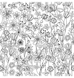 Seamless pattern with contour black-and-white vector image