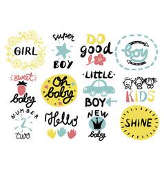 12 children s logo with handwriting little girl vector
