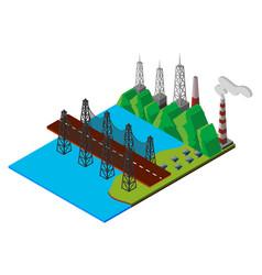 3d design for bridge over the lake vector image
