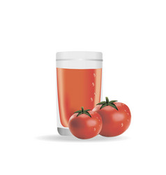 A realistic glass of tomato juice vector