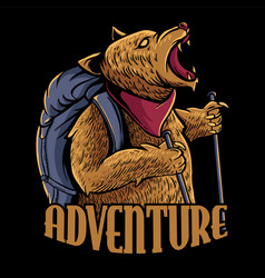 adventure bear vector image