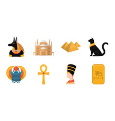 Ancient egypt icons in set collection for design vector