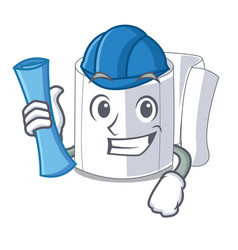 architect character toilet paper rolled on wall vector image
