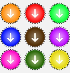 Arrow down Download Load Backup icon sign A set of vector image