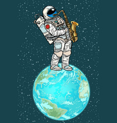 Astronaut plays saxophone on planet earth vector