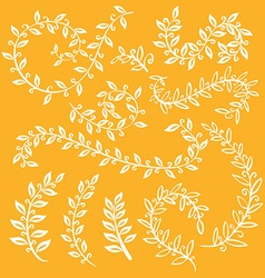 Autumn leaf set Set wreaths and laurel Hand vector