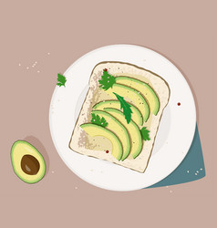 Avocado toast fresh toasted bread with slices vector
