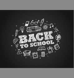 Back to school concept hand drawn elements chalk vector