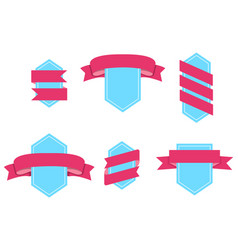 Badge with curved ribbons isolated set vector