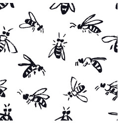 bees hand drawing background seamless pattern vector image