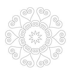 Black and white round simple mandala hearts vector