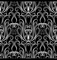 black and white vintage damask seamless pattern vector image