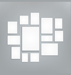 blank white 3d paper canvas posters mock vector image