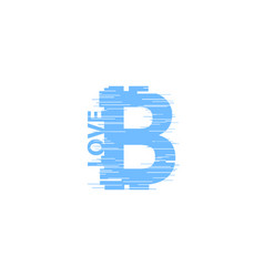 blue bitcoin sign in glitch style on white vector image