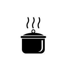 Boiling cooking pan flat icon vector