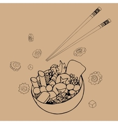 Bowl with japanese food vector