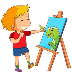 Boy drawing dragon on canvas vector