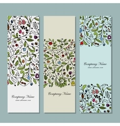 Business cards floral banners design vector