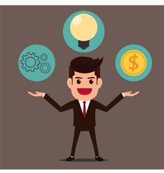 Businessman with gear idea and money vector image
