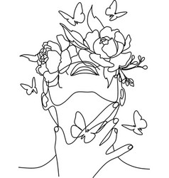 butterfly surreal faces continuous line drawing vector image