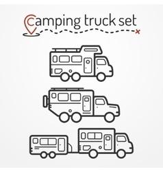 Camping truck set vector